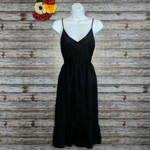 Old Navy | Black Linen Blend Midi Dress | M